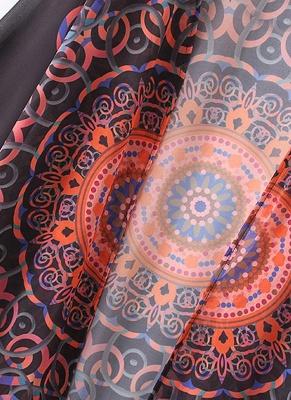 Chiffon Geometric Print Fringe Loose Long Kimono_6
