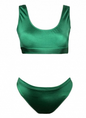 Solid Color Round Neck Sleeveless Women's Two Piece Swimsuit_4