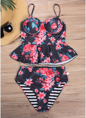 Women Floral Printed Sexy Bikini Set Swimsuit  Underwire Padded Beach Wear_2