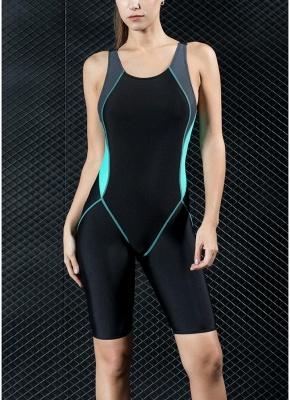 Women Sports One Piece Swimsuit Full Brief Knee Professional  Swimwear_3