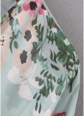Summer Women Floral Chiffon Cardigan Open Front Half Sleeve Kimono_9