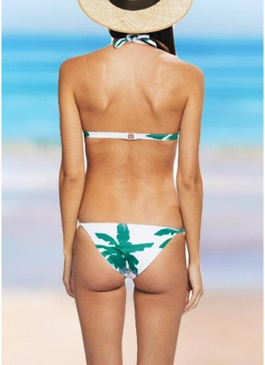 Women Flower Halter Sexy Bikini Set Swimwear Low Waist Two Piece Swimwear Beachwear_3