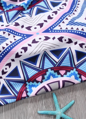 Women Halter Sexy Bikini Set Geometric Print Tie Back Low Waist Thong Biquini  Swimsuit_4