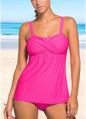 Women Push Up Tankini Set Padding Wireless Low Waist Beach Bathing_1