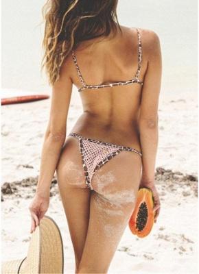Women Leopard Sexy Bikini Set Strappy Padding Wireless Backless_3