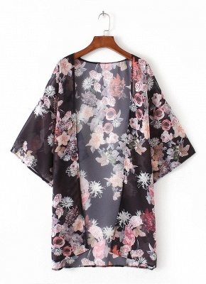 Fashion Chiffon Loose Cardigan Front Floral Print Vintage Women's Kimono_4