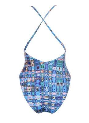 Backless Plaid Swimwear Criss Cross Bandage Bathing Suit_4
