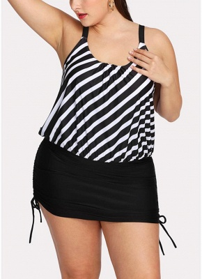 Women Striped Swim Dress Tie Side_1