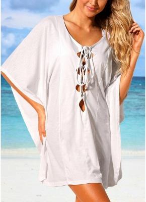 Women Beach Cover Up Lace Up Kaftan  Beachwear Loose Sexy Bikini Dress_1