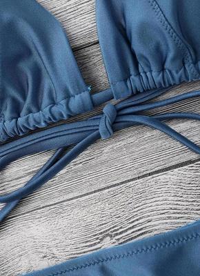 Solid Color Halter Bandage Tie Sexy Bikini Set_8
