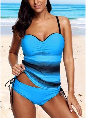 Fashion Women Strappy Tankini Sexy Bikini Set Leopard Print Low Waist Thong Two Pieces Swimsuit_2