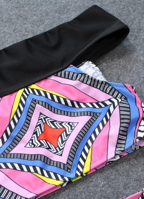 Boho Women Two Piece Sexy Bikini Set Off Shoulder Colorful Geometric Print Padded High Waist  Swimsuit_5