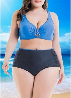 Women  Sexy Bikini Set Color Splice Padded Underwire High Waist Swimsuit Beach Wear_1