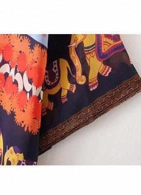 Summer Cardigan Elephant Print Boho Loose Women's Kimono_8