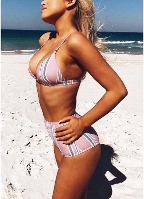 Women Stripe High Waist Sexy Bikini Set Halter Padded Bandage Swimsuit Swimwear Bathing Suit_4