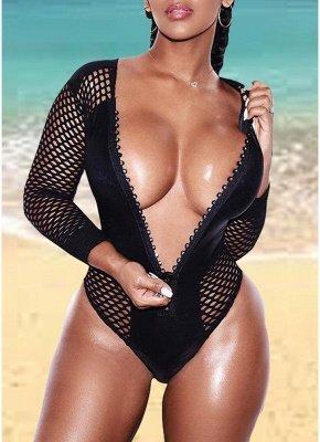 Women One Piece Swimsuit Fishnet Long Sleeve Zip Front Bodysuit Swimwear Bathing Suit Black_1