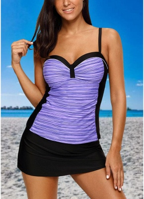 Women Sexy Bikini Set Swimsuit Push Up  Contrast Beach Wear Swimwear Plus Size Tankini Skirt Set_2