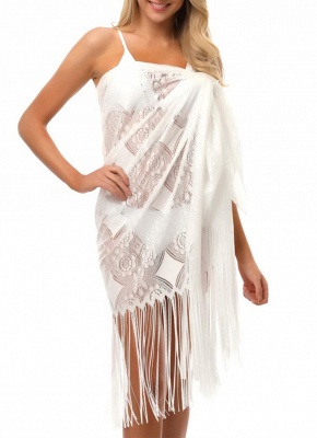 size Women Lace Tassel Crochet Sexy Bikini Cover Up Summer Beach Cape Shawl_1