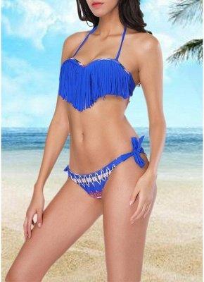 Women  Sexy Bikini Set Halter Tassel Underwire Swimsuit Beach Wear Two Piece_4