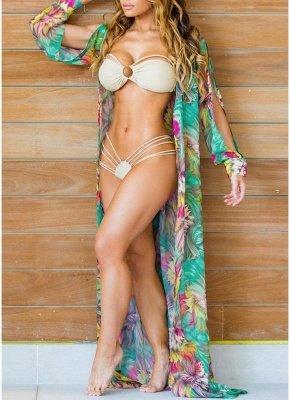 Women Chiffon Sexy Bikini Cover Up Floral Print Bohemia Cardigan Kimono Loose Outerwear Beachwear Green/Blue_2