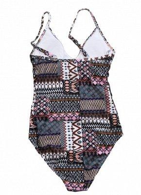 Women Spaghetti Strap One-Piece Swimsuit Totems Print Monokini Push Up Padded Sexy Bikini Swimwear_3