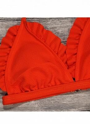 Women Sexy Bikini Set Push Up  Swimsuit Ruffle Low Waisted Padded Two Piece Swimwear Beach Wear_9