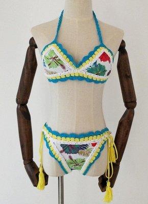 Crochet Knit Floral Print Halter Bandage Sexy Bikini Set_2
