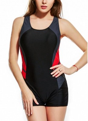 2xl Panel Splicing Racing Sports One Piece Swimsuit_1