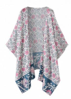 Summer Chiffon Boho Floral Long Loose Beach Kimono_4