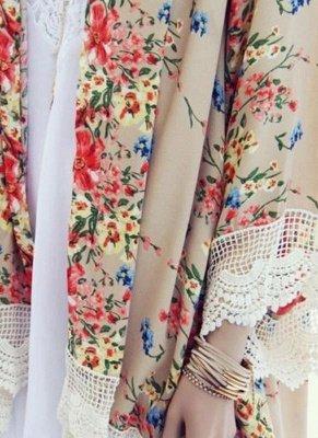 Vintage Floral Print Lace Hem Boho Chiffon Kimono_6