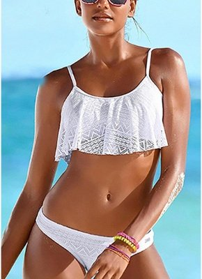 Women Ruffled Sexy Bikini Set Hollow Out Adjustable Strap Padding Low Waist_1