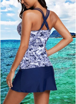 Women Print Strappy Padded Top Open Back High Waist Skirted Tankini Set_3
