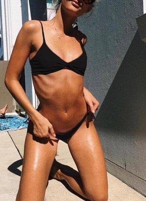 Women Soid Ruched Bandage Strappy Two-Piece Sexy Bikini Set_4
