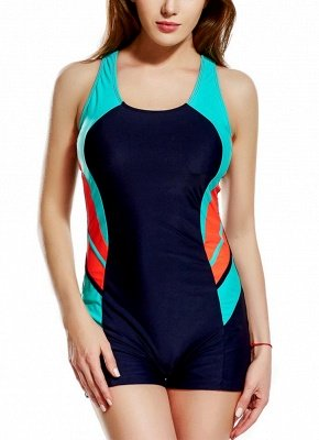2xl Panel Splicing Racing Sports One Piece Swimsuit_3