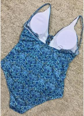 Women One Piece Swimsuit  Deep V-Neck Lace Up Swimwear Backless Printed Beachwear Monokini_5