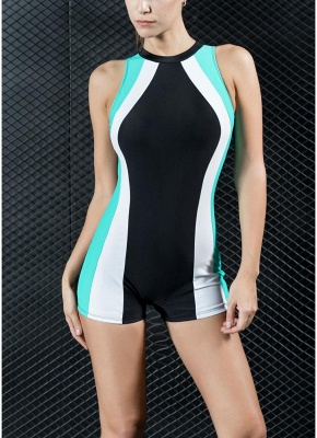 Women Sports One Piece Swimsuit Racing  Swimwear Beachwear Boxer Bodysuit_1