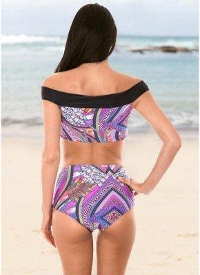 Boho Women Two Piece Sexy Bikini Set Off Shoulder Colorful Geometric Print Padded High Waist  Swimsuit_3
