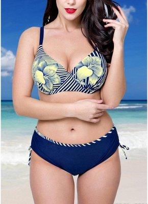 Plus Size Floral Print Underwire Padding Sexy Bikini Set_1
