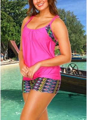 Geometric Print Sleeveless Backless Padded Wireless Swimsuit_4