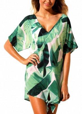 Women Beach Dresses Cover Ups Plants Print Tie Knot Mini Sexy Bikini Beachwear_5