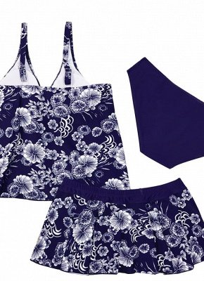 10xl Plus Size Floral Print Spaghetti Strap Summer Swimsuit_7