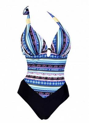 Women Plus Size One-Piece Swimsuit Boho Sriped Print  Playsuit Jumpsuit Rompers_5