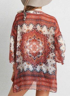 Boho Chiffon Floral Print Front Open Women's Loose Kimono_1