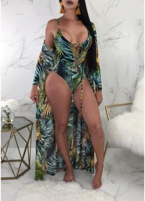 Printed Lace Up Swimsuit Cover-Up SO1550_1