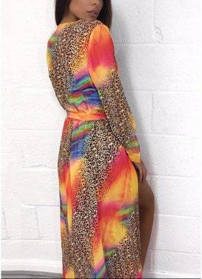 Chiffon Leopard Contrast Color Split Cardigan Kimono Beach Maxi Coverups_2