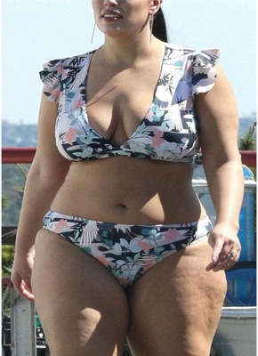 Plus Size Frill Sleeve Printed Push Up Sexy Bikini_1