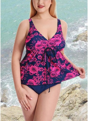 10xl Plus Size Floral Print Spaghetti Strap Summer Swimsuit_1