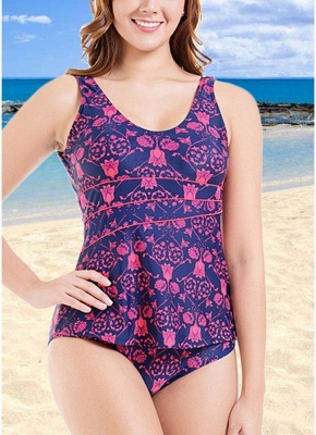 Plus Size Print O Neck Sleeveless Backless One Piece Swimsuit_2