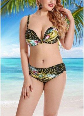 Women Plus Size Swimsuits Leaves Floral Print Sexy Bikini  Swimwears_2