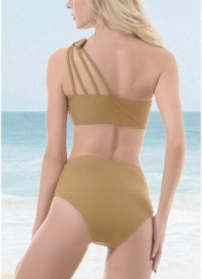 Women One Shoulder Hollow Out Side Bandage High Waist Padded Wireless Two Piece Sexy Bikini Set_4